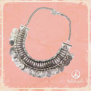 Composition ethnique métal collier boucles d/'oreilles Perles Gypsy Free People rétro bohème
